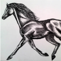 Horse – Air and Fire – Rachael Tan – Surrey Artist – Painting in Acrylics on Canvas and Drawings in Charcoal and Pencil