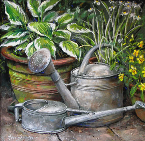 Hosta Plants and Watering Can - Malcolm Surridge - Artist - Landscape Paintings - Surrey Artists Gallery