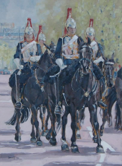 Household Cavalry I - Mark Dorsett - Watercolour and Oil Paintings - Littleton Artists Group