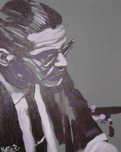 Jazz Musician - Bill Evans - Surrey Artist - Nette Robinson - Jazz and Chess Portraits and Abstract Art