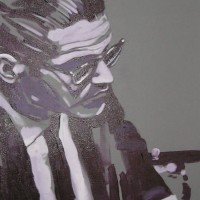 Jazz Musician – Bill Evans (Violet) – Surrey Artist – Nette Robinson – Jazz and Chess Portraits and Abstract Art
