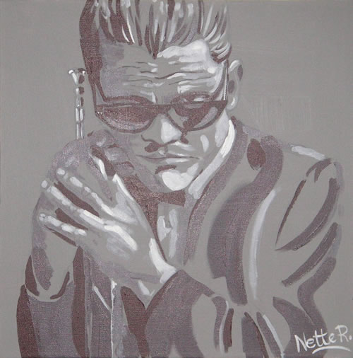 Jazz Musician - Chet Baker (Grey) - Surrey Artist - Nette Robinson - Jazz and Chess Portraits and Abstract Art - Gallery