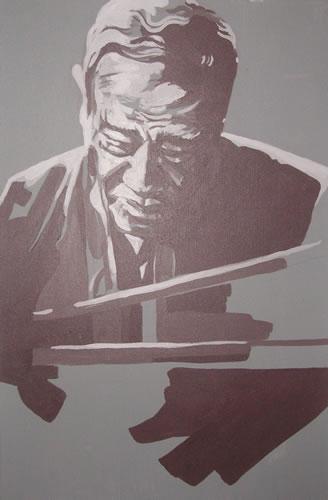 Jazz Musician - Duke Ellington (Grey) - Surrey Artist - Nette Robinson - Jazz and Chess Portraits and Abstract Art - Gallery
