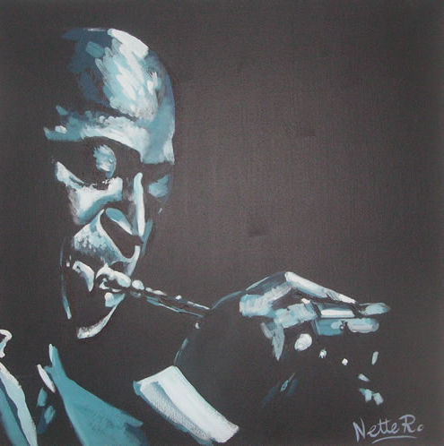 Jazz Musician - Miles Davis - Kind of Blue - Surrey Artist - Nette Robinson - Jazz and Chess Portraits and Abstract Art - Gallery