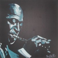 Jazz Musician Miles Davis - Kind of Blue - Painting by Nette Robinson