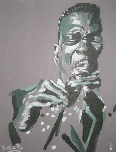Jazz Saxophonist - John Coltrane (Green) - Surrey Artist - Nette Robinson - Jazz and Chess Portraits and Abstract Art
