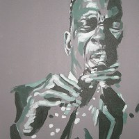 Jazz Saxopnonist – John Coltrane (Green) – Surrey Artist – Nette Robinson – Jazz and Chess Portraits and Abstract Art