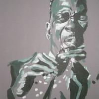 Jazz Saxopnonist – John Coltrane (Green) – Surrey Artist – Nette Robinson – Jazz and Chess Portraits and Abstract Art