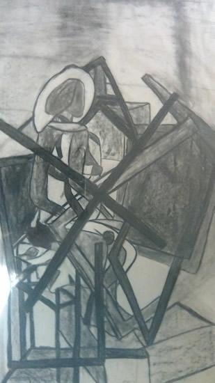 Lady In Art Studio - Drawing - by Surrey Artist Karen Marie Budge