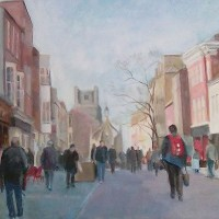 Landscape – Chichester – Busy Street – Margaret Harvey – Surrey Artist – Painter in Oil, Acrylic and Watercolour. Occasional Sculptures