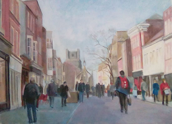 Landscape - Chichester - Busy Street - Surrey Art Gallery - Margaret Harvey - Surrey Artist - Painter in Oil, Acrylic and Watercolour