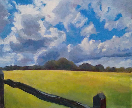 Landscape - Stormy Sky and Yellow Field Surrey Art Gallery - Margaret Harvey - Surrey Artist - Painter in Oil, Acrylic and Watercolour
