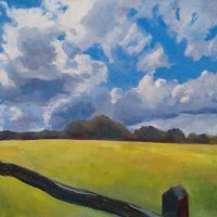 Landscape – Stormy Sky and Yellow Field – Margaret Harvey – Surrey Artist – Painter in Oil, Acrylic and Watercolour