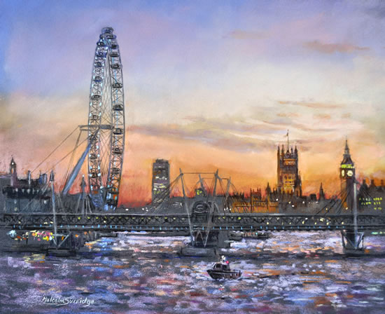 London Eye - Westminster Sunset - Malcolm Surridge - Artist - Landscape Painting in Pastels - Surrey Artists Gallery