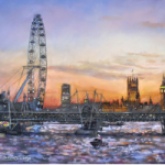 London Eye – Westminster Sunset – Malcolm Surridge – Artist – Landscape Painting in Pastels – Surrey Artists Gallery