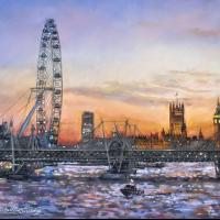 London Eye – Westminster Sunset – Malcolm Surridge – Artist – Landscape Painting in Pastels – Surrey Artists Gallery