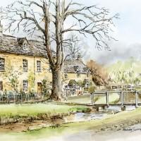 Lower Slaughter, Cotswolds – Malcolm Surridge – Artist – Landscape Paintings – Surrey Artists Gallery