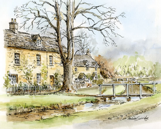 Lower Slaughter, Cotswolds - Malcolm Surridge - Artist - Landscape Paintings - Surrey Artists Gallery