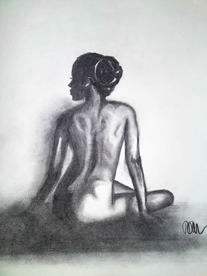 Nude Woman - Light Of Day - Rachael Tan - Surrey Artist - Painting in Acrylics on Canvas and Drawings in Charcoal and Pencil