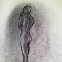 Nude Woman – Midnight Shift – Rachael Tan – Surrey Artist – Painting in Acrylics on Canvas and Drawings in Charcoal and Pencil