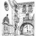 Pacentro, Italy – Malcolm Surridge – Artist – Pen and Ink Drawing – Surrey Artists Gallery