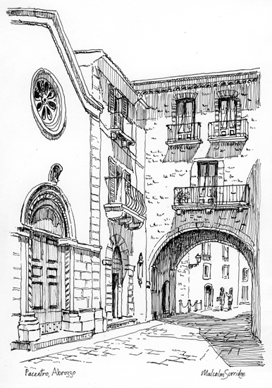 Pacentro, Italy - Malcolm Surridge - Artist - Pen and Ink Drawing - Surrey Artists Gallery