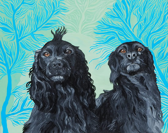 Pet Spaniels - Portrait - Katwish - Katie Griffiths - Portrait Artist - Oils, Acrylics and Textile Sculpture