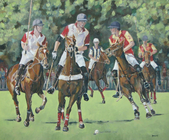 Polo Match at Smiths Lawn, Windsor - Mark Dorsett - Watercolour and Oil Paintings - Littleton Artists Group