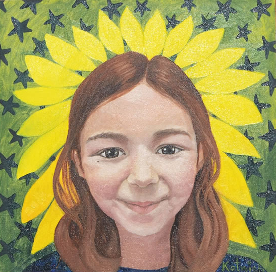 Portrait - Betty, a Strong Girl - Surrey Artist Katwish - Katie Griffiths - Portrait Artist - Oils, Acrylics and Textile Sculpture