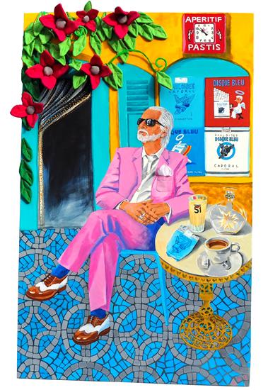 Portrait - Russell Beck - Pavement Cafe - Katwish - Katie Griffiths - Portrait Artist - Oils, Acrylics and Textile Sculpture