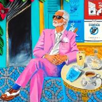 Portrait – Russell Beck – Pavement Cafe – Katwish – Katie Griffiths – Portrait Artist – Oils, Acrylics and Textile Sculpture