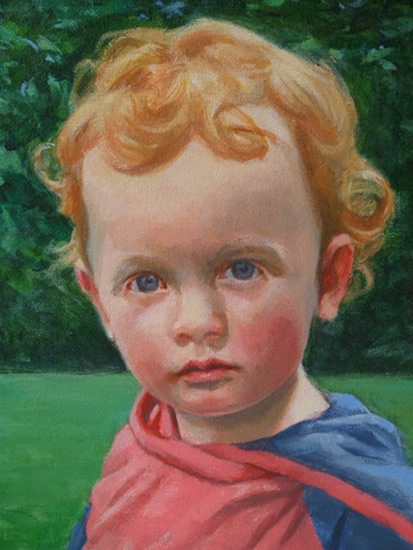 Portrait of Child - Milo - Iain White - Surrey Artist - Portraits and other Paintings in Acrylic, Pastel and Conte