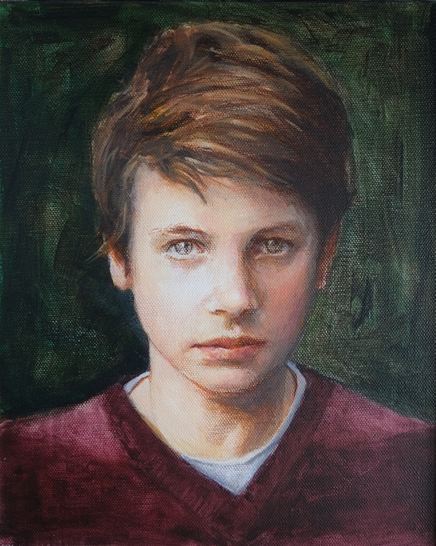 Portrait of William - Surrey Artist - Iain White - Portraits and other Paintings in Acrylic, Pastel and Conte