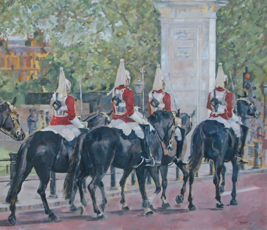 Queen's Household Cavalry II - Mark Dorsett - Watercolour and Oil Paintings - Littleton Artists Group