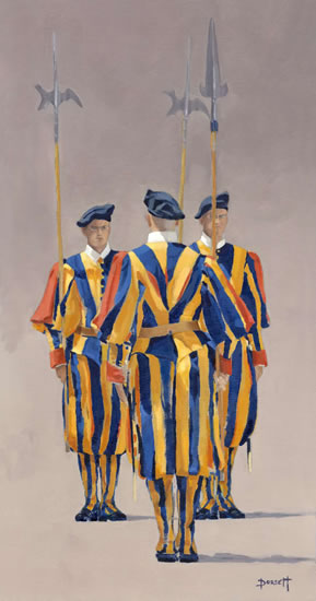 Rome - Vatican Guards - Mark Dorsett - Watercolour and Oil Paintings - Littleton Artists Group