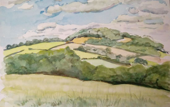 Saddlebow Hill Herefordshire - Landscape - Margaret Harvey - Surrey Artist - Painter in Oil, Acrylic and Watercolour