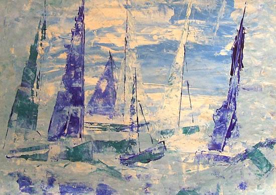 Sailing Regatta Kicks Off - Cate Field - Acrylics and Digital Artist, Art Teacher and Tutor - Surrey Artists Gallery