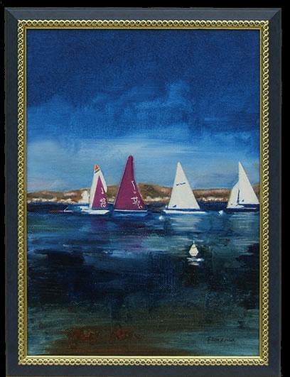 Sailing - Rugged Coastline near Ajaccio, Corsica - Florenca (June Martin) - Surrey Artists Gallery