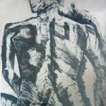 Sitting Lady – Drawing – by Surrey Artist Karen Marie Budge