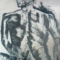 Sitting Lady – Drawing – by Surrey Artist Karen Marie Budge