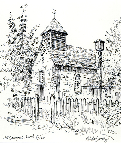 St Georges Church Esher, Surrey - Malcolm Surridge - Artist - Pen and Ink Drawings - Surrey Artists Gallery
