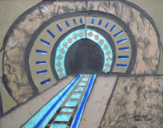 Stained Glass Mosaic - Black Hole - Railway Tunnel - Artist - Susanne Parker - Surrey Artists Gallery