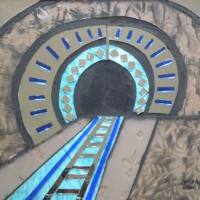 Stained Glass Mosaic – Black Hole – Railway Tunnel – Artist – Susanne Parker – Surrey Artists Gallery