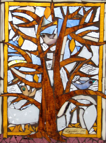 Stained Glass Mosaic - Four Seasons - Winter - Artist - Susanne Parker - Surrey Artists Gallery