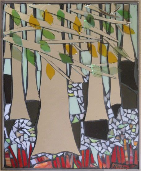 Stained Glass Mosaic - Trees - Beechwood Thicket - Artist - Susanne Parker - Surrey Artists Gallery
