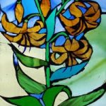 Stained Glass Mosaic – Yellow Lilies – Artist – Susanne Parker – Surrey Artists Gallery