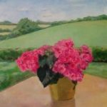 Still Life – Begonias and Landscape – Margaret Harvey – Surrey Artist – Painter in Oil, Acrylic and Watercolour. Occasional Sculptures