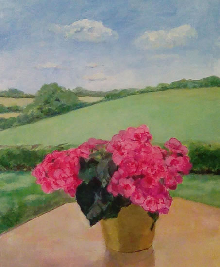 Still Life - Begonias and Landscape - Margaret Harvey - Surrey Artist - Painter in Oil, Acrylic and Watercolour. Occasional Sculptures