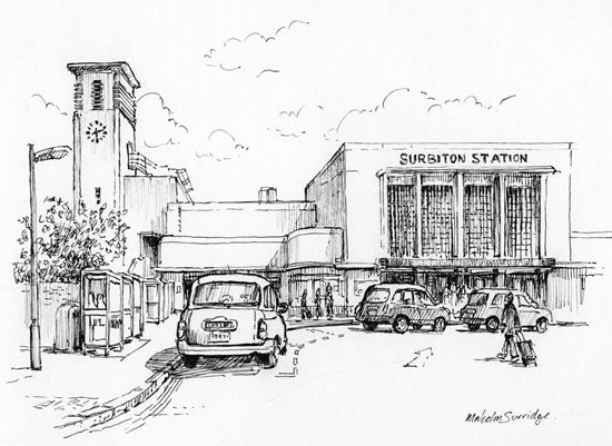 Surbiton Station - Malcolm Surridge - Artist - Pen and Ink Drawings - Surrey Artists Gallery