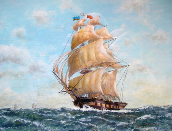 Tall Ship - Full Sail - W.R. Kimber - Surrey Artist Bill Kimber - Byfleet Art Society